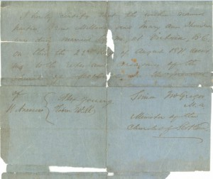 Certification of Mellado - Thompson marriage, 22 August 1871.