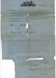 BC marriage certificate No. 1
