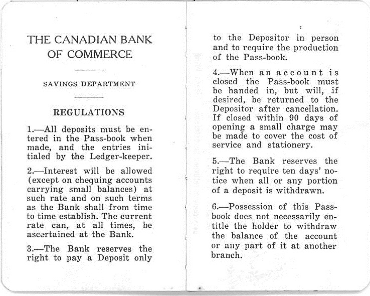 Canadian Bank of Commerce Pass-book regulations