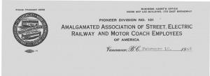 Letterhead for Vancouver Transportation Union
