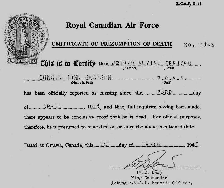 GR-2215 World War 2 Death notice