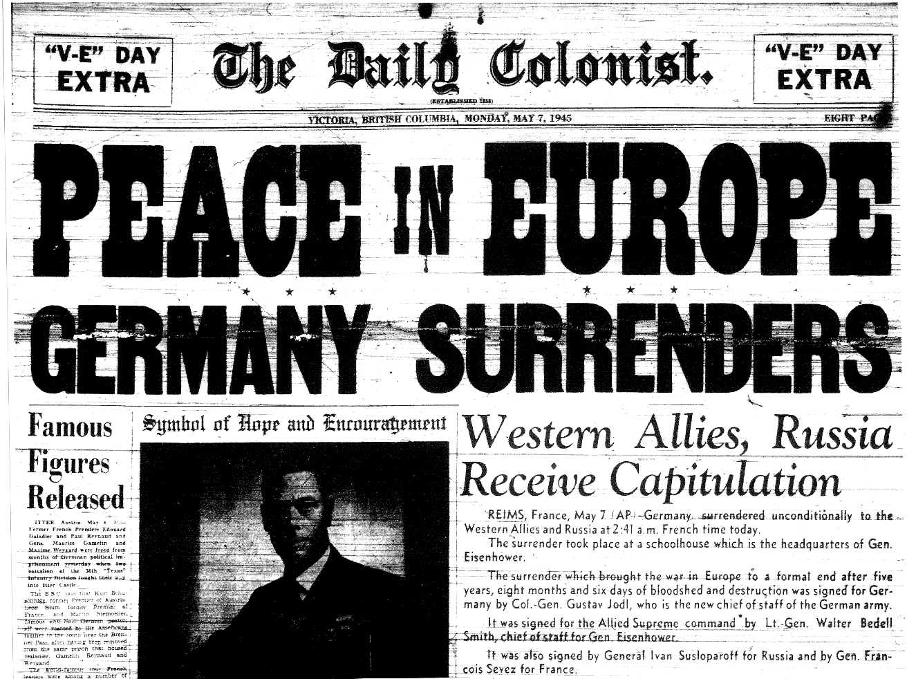 Front page of The Daily Colonist, May 7 1945, Extra edition