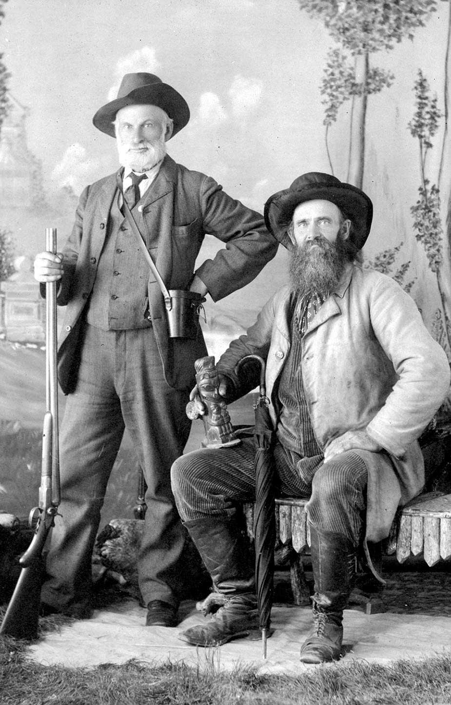 Richard Maynard and Captain Newton H. Chittenden (on right); just returned from their first trip to the Queen Charlotte Islands. Photo by Hannah Maynard, c. 1875. BCA c-08862.