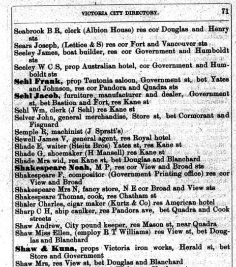 1882 Victoria City Directory, Seeley