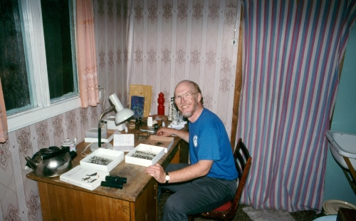 Figure 10. Preparing insect specimens in my hut at Kontakt field station north of Magadan.