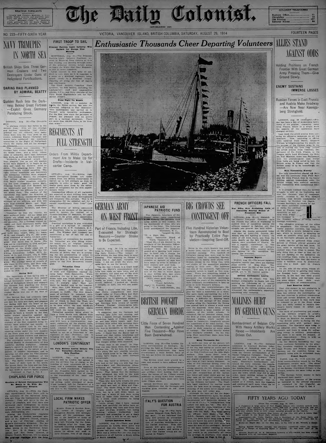 Front page, Daily Colonist, August 29, 1914.