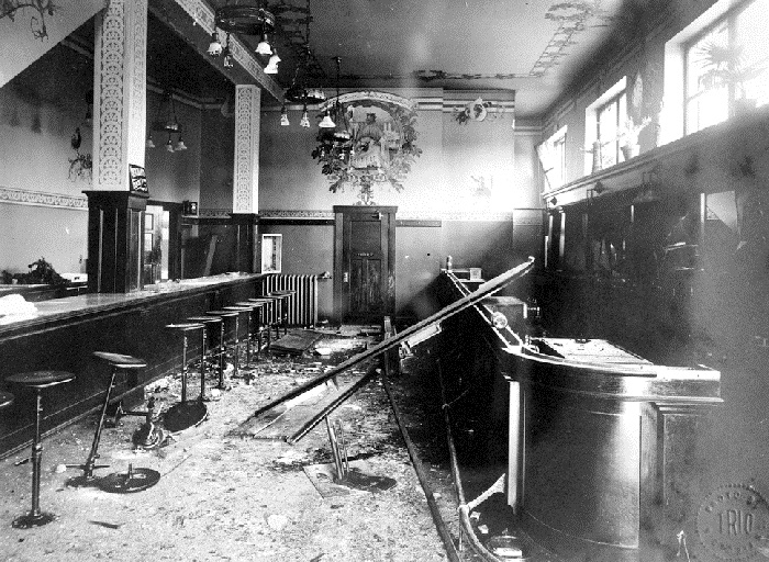 Damage to the bar in the Kaiserhof Hotel following the Lusitania riot, May 1915. (BC Archives photo C-07552)