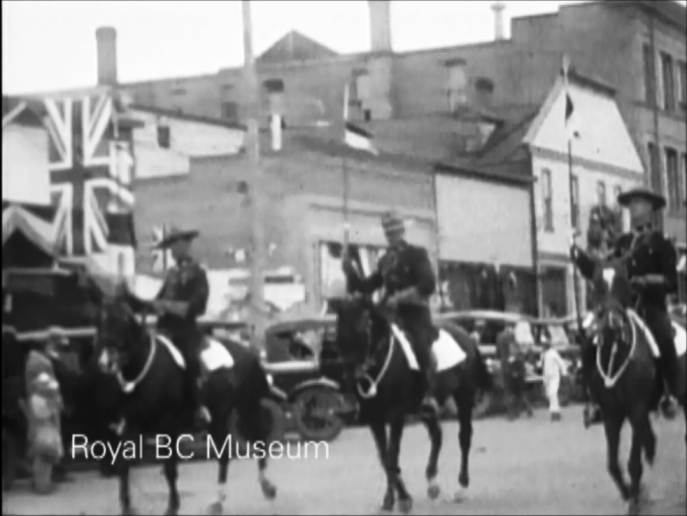 Mounties lead the Dominion Day parade in Cranbrook, 1927. (Digital frame grab from V1985:30/001.01 item #5)