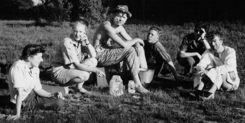 "Dorothy Burritt (second from left) with the cast & crew of the experimental film comedy""Glub"" (1947), directed by Stan Fox (far right). (Photo courtesy Stan Fox)"
