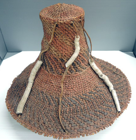 Figure 1. Bella Coola woven hat with Toredo shell ornaments. RBCM 18655.